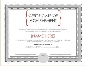 Certificate of achievement DOWNLOAD at http://www.templateinn.com/15-certificate-templates-for-all-fields/