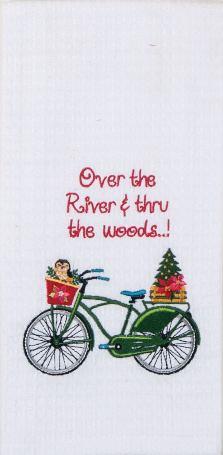 """Over The River Christmas Quote Bike Embroidered 100% Cotton Waffle Dish Towel / Tea Towel, 18"""" x 28"""""""
