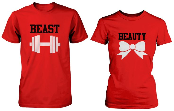 Beauty and the Beast Cute His and Her Matching Red T-Shirts for Couple