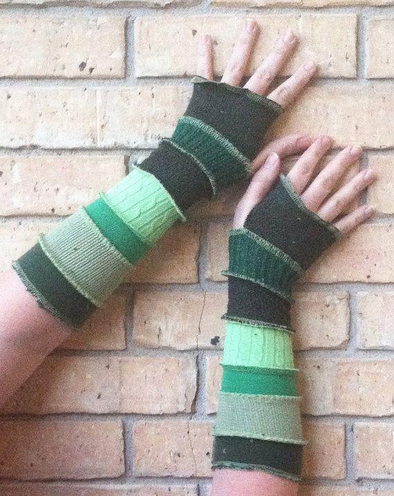 Recycled Arm Warmers  Green Arm Worms by Aunty by CraftedByAuntyEm, $20.00