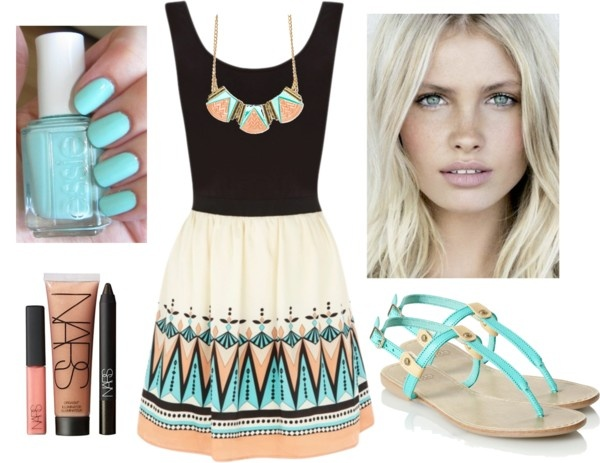 """Peach & Aqua"" by qtpiekelso on Polyvore: Summer Fashion, Dress, Outfit Inspirations, Summer Outfits, Polyvore, Peaches, Necklace, Aqua Outfit, Style Outfit Ideas"