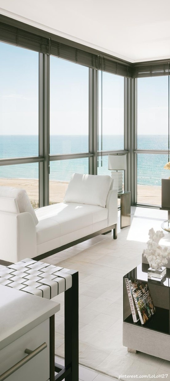 Light and white interior, doesn't distract from the beach view.