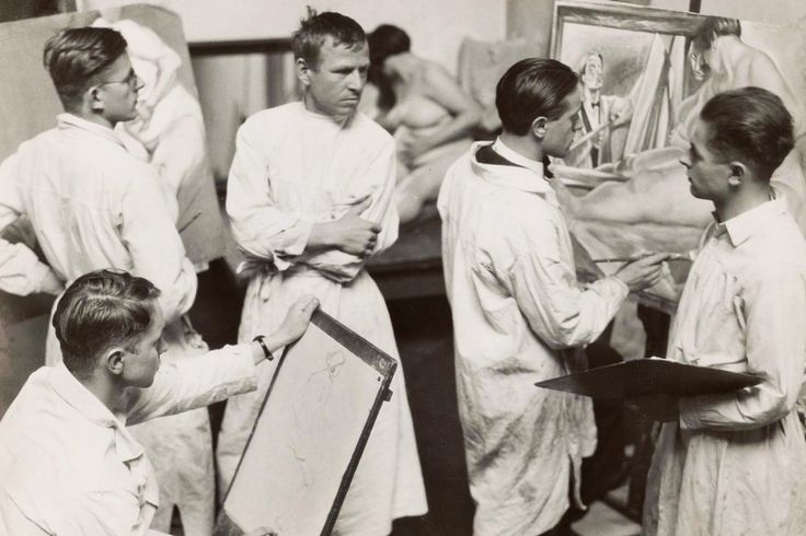 OTTO DIX. Untitled. The painter Otto Dix instructing a class in figure painting. 1929. Hugo Erfurth.