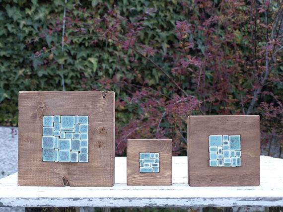 Mosaico de porcelana y madera verde turquesa. Arte. Decoración. Hogar. Nueva casa. regalo novios. CUPÓN DESCUENTO