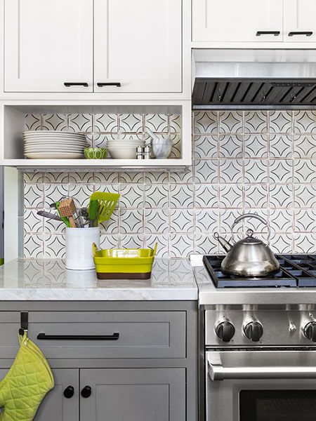 Family kitchen with a view painted tiles white subway for Painting ceramic tile kitchen backsplash