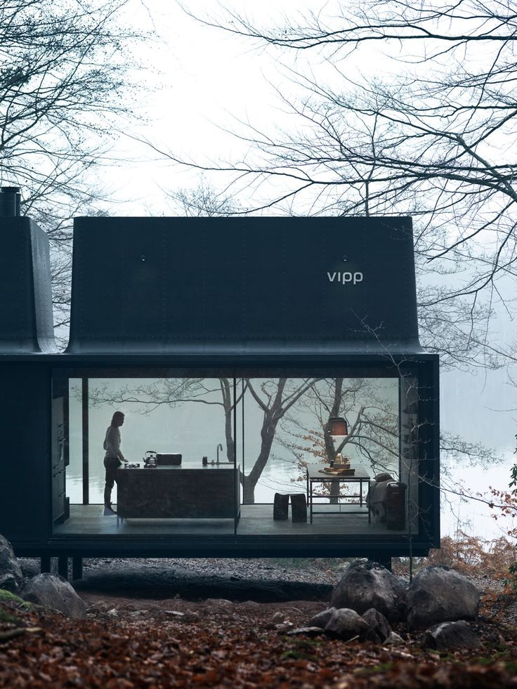 Beautiful architecture: modern style black + glass house in the woods, Vipp-Shelter