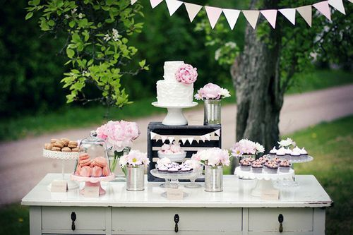 Rustic Pink Dessert Table...gasp!  How gorgeous is this?  I'm sure Mark will let me buy a charming vintage dresser to use as a dessert table for a birthday party...right?  :)