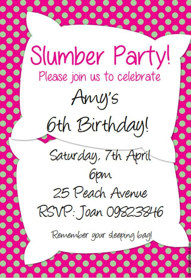 14 best Slumber Party Ideas images – Free Printable Slumber Party Invitation Templates