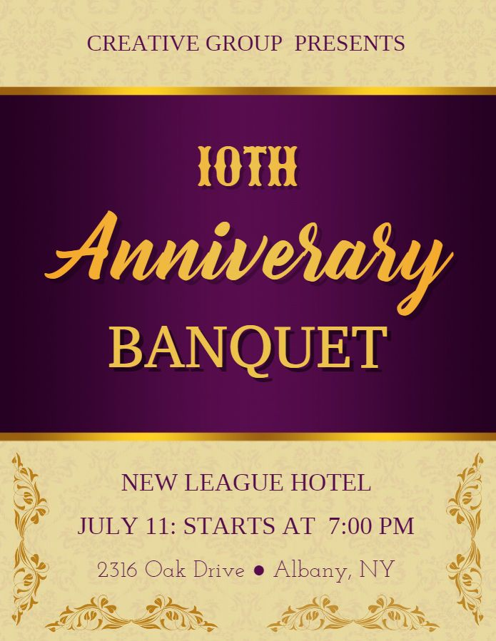 Formal anniversary event banquet invitation flyer template - Invitation Flyer Template