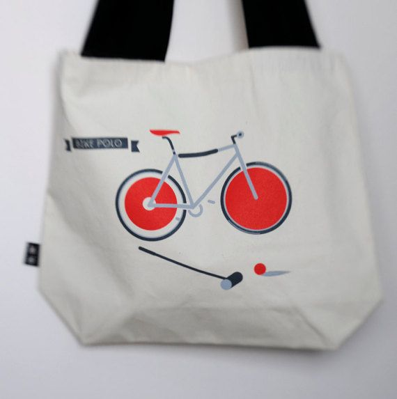 Cycle polo, bike – Reusable Shopping Bag; Tote Bag; 100% cotton