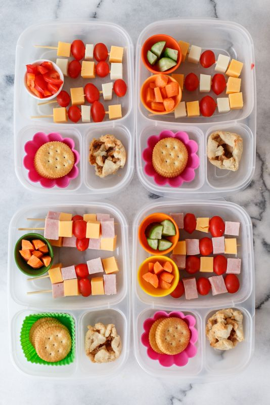 Non-sandwich lunch box idea: Little skewers of cheese and tomatoes, and ham for the meat eaters.