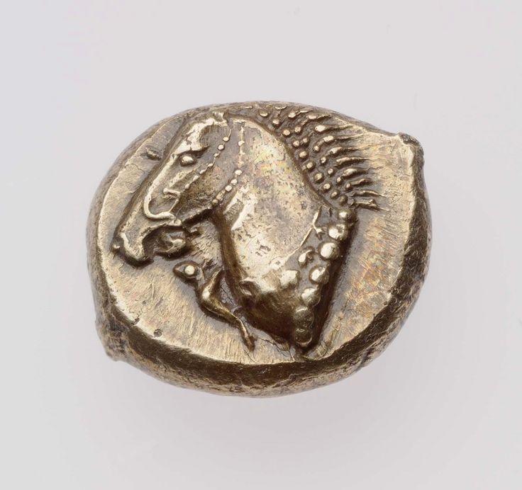 Hekte (1/6 di statere) - elektron - Focea, Ionia (500-494 a.C.) - testa di cavallo con bardatura,, in basso una piccola foca -  Museum of Fine Arts, Boston