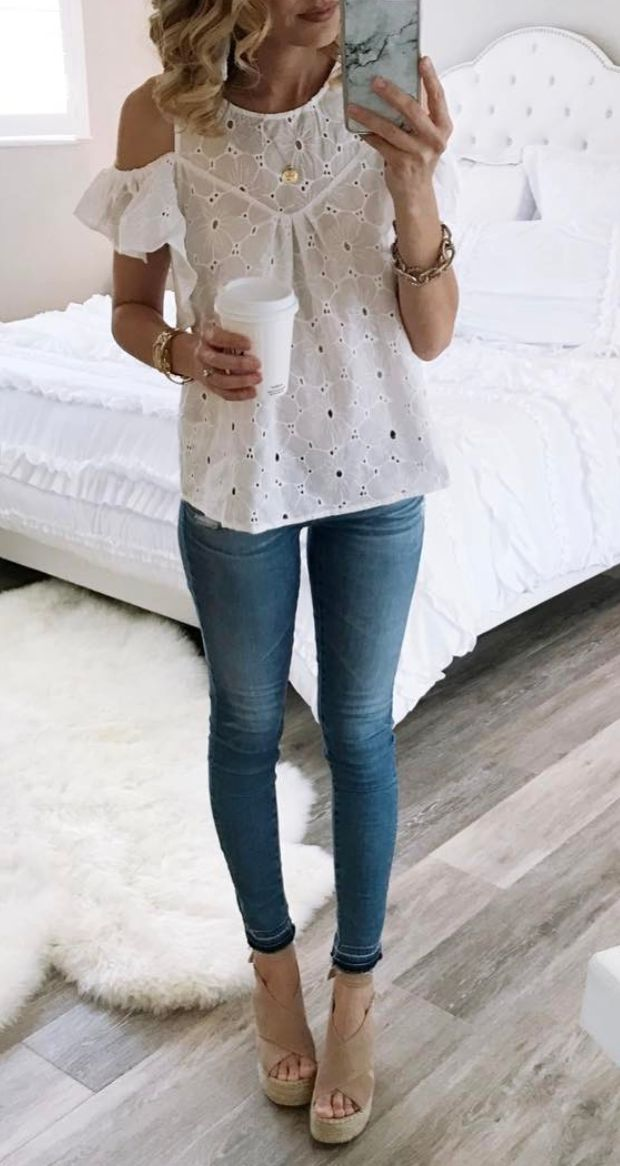 eyelet blouse. Love this shirt. Heels are a no because I'd never be comfortable in those all day. Also the pants are way too tight.