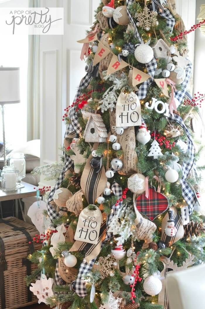 Cottage Christmas | Best Way to Decorate Christmas Trees on a Budget:  Inexpensive or Free & Easy Holiday Ornaments & Decorations - 25+ Inexpensive Christmas Tree Decorating Ideas - FarmFoodFamily