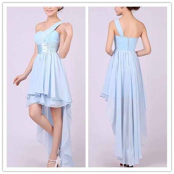 Sexy One Shoulder Sleeveless Asymmetrical Light Blue Chiffon Mini Homecoming Dress