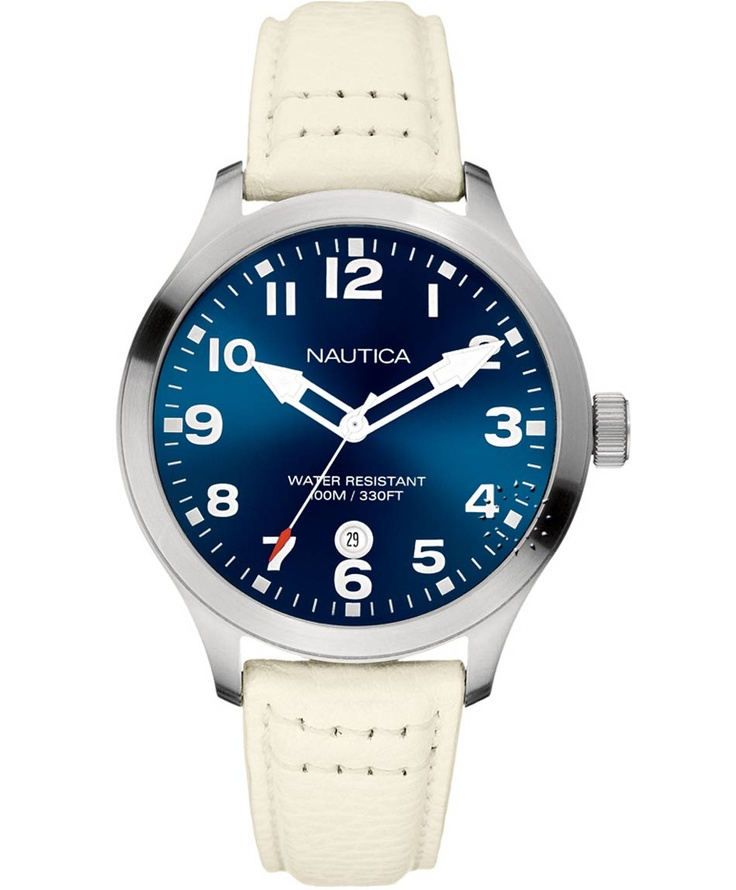 NAUTICA 100M White Leather Strap Μοντέλο: A09561 Η τιμή μας: 126€ http://www.oroloi.gr/product_info.php?products_id=33939