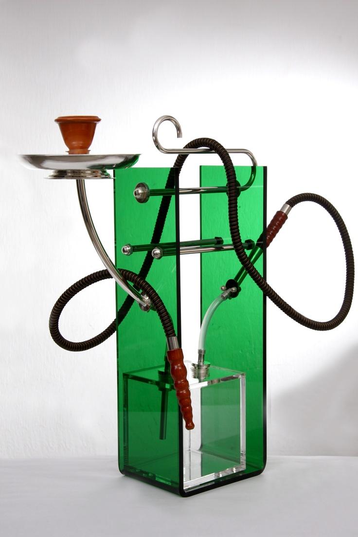 """""""U Water Pipe"""" .Chicha matiere - plexi glass et plaqué argent couleur vert-rouge-noire. longeur 37cm.largeur 15cm. By Atelier Sz."""
