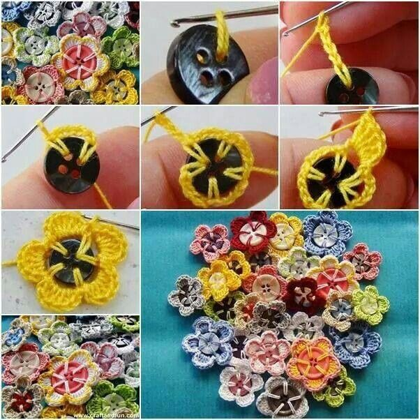 Picture of buttons with crocheted flowers.