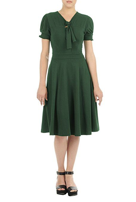 1940S Vintage Tie-neck cotton jersey knit dress in green