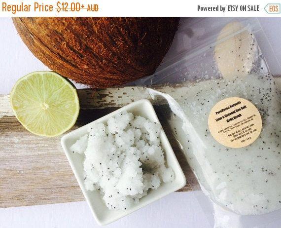 ON SALE Body Scrub Lime & Coconut. Handmade Natural Purifying Body Polish. Vegan Skin Care. Skin-Loving Oils. Bath Body Gift. 2 Sizes