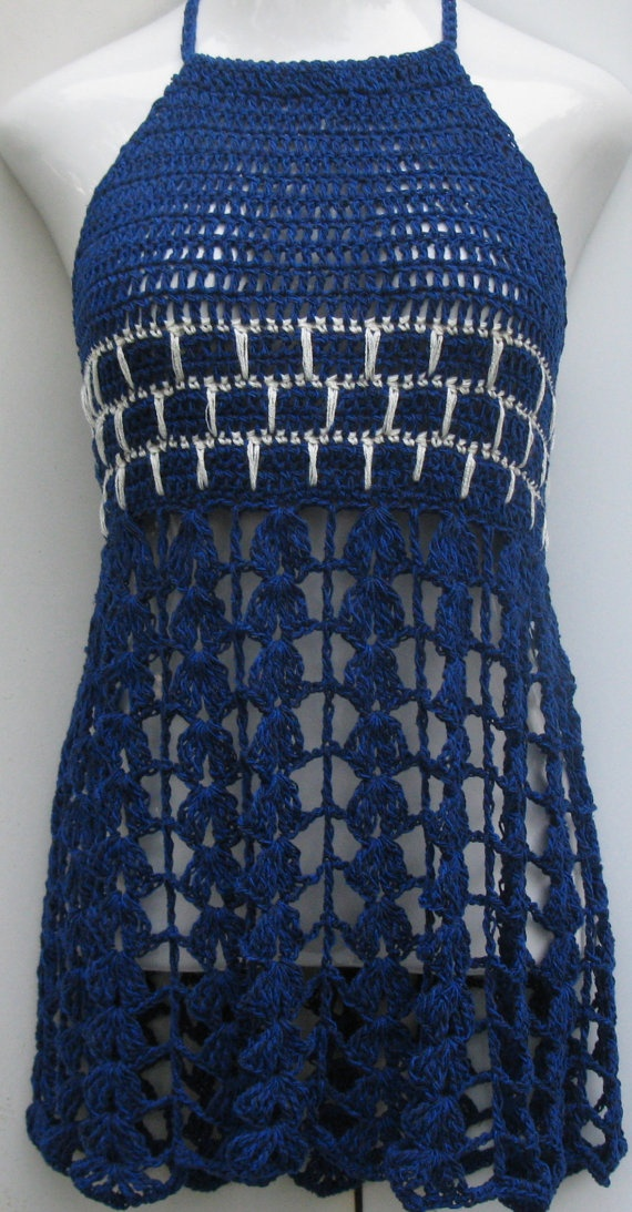Blue EMPIRE WAIST babydoll halter top/dress by Elegantcrochets, $75.00