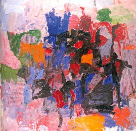 To Fellini - Artist: Philip Guston  Completion Date: 1958  Style: Abstract Expressionism  Genre: abstract painting/Historik  Termen abstrakt expressionism användes första gången 1919 för att beskriva vissa målningar av Vasilij Kandinskij. Den syftar vanligtvis på amerikansk, icke-geometrisk konst av olika konstnärer som omkring 1942 hade New York som sitt centrum, och som var mycket aktiva och inflytelserika under 1950- och 1960-talen. Den amerikanske konstkritikern Robert Coates använde…