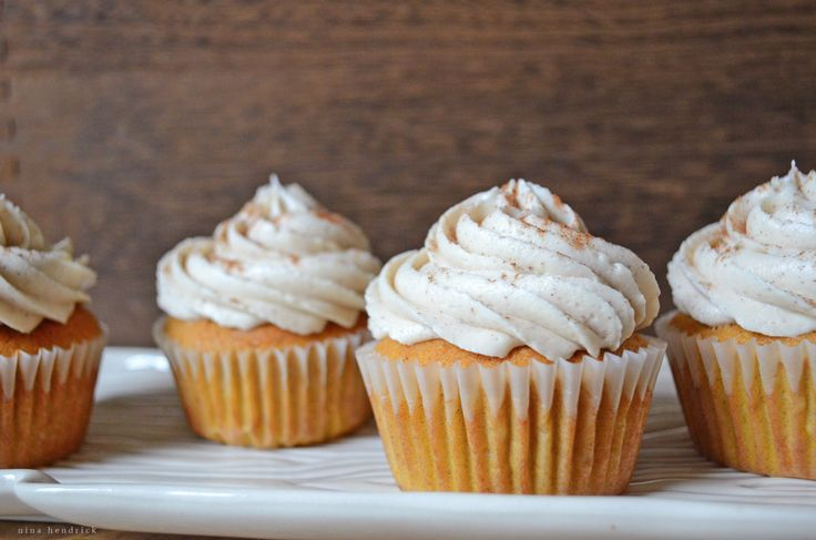 Fall is here! Get the recipe for my favorite Pumpkin Spice Cupcakes with Cinnamon Cream Cheese Frosting frosting from NinaHendrick.com!