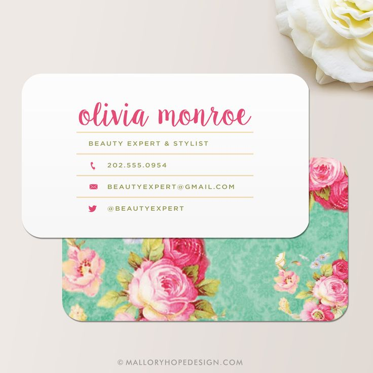 Vintage Floral Business Card - Mallory Hope Design
