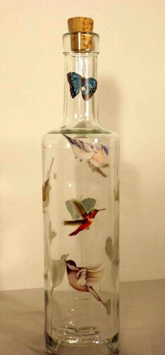 Recycled Birds and Butterflies Glass Bottle Incense by CanDezign