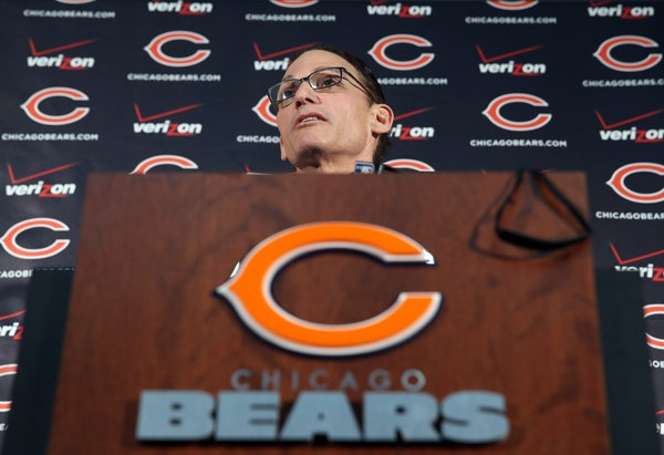 Marc Trestman takes questions from reporters as the new Chicago Bears head coach at Halas Hall on Thursday.