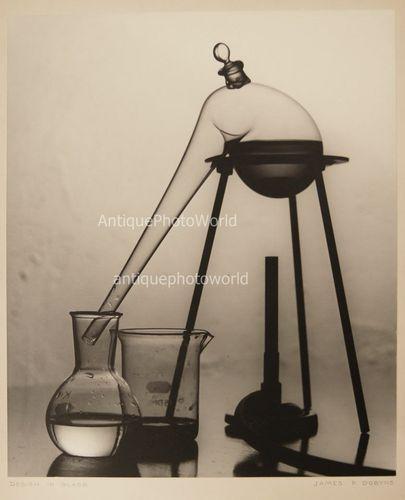 Still life with glass chemistry laboratory flasks vintage art photo by J. Dobyns | eBay