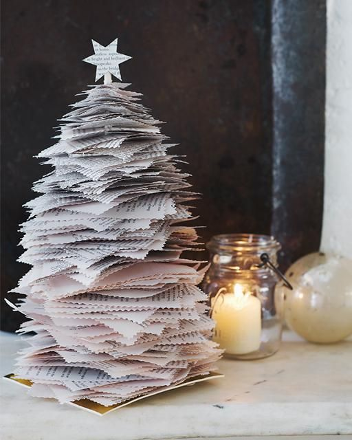 Stacked Paper Christmas Tree - So easy to make from an old book!