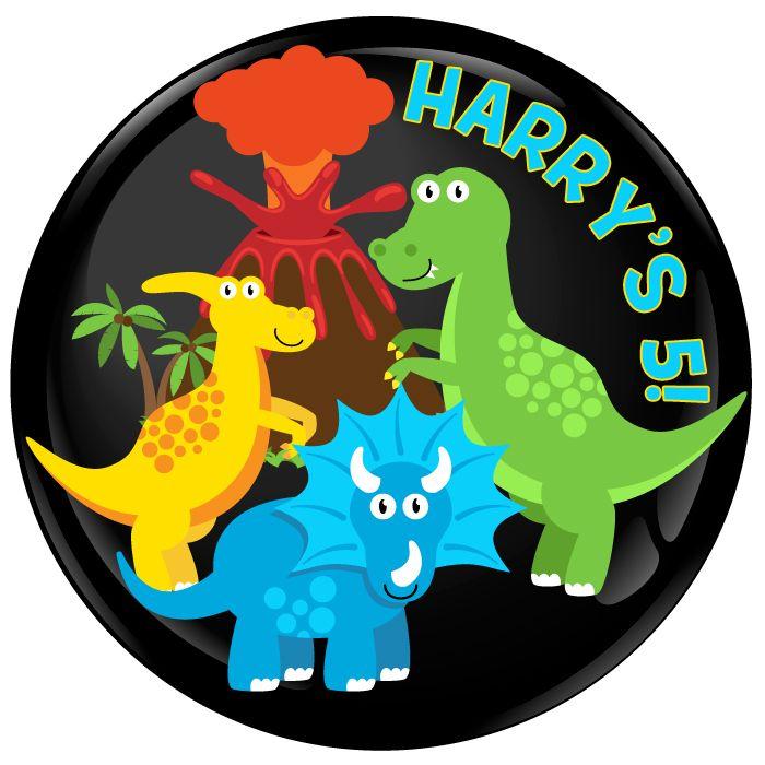 Dinosaur Personalised Birthday Party Badge #487