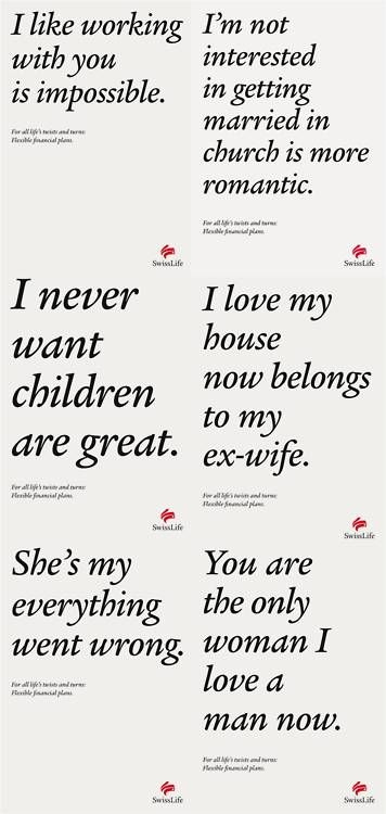 Mashed up copy on Swiss Life insurance print ads shows life's twists and turns. Advertising Agency: Spillmann/Felser/Leo Burnett, Zurich, Switzerland #Advertising #Printad