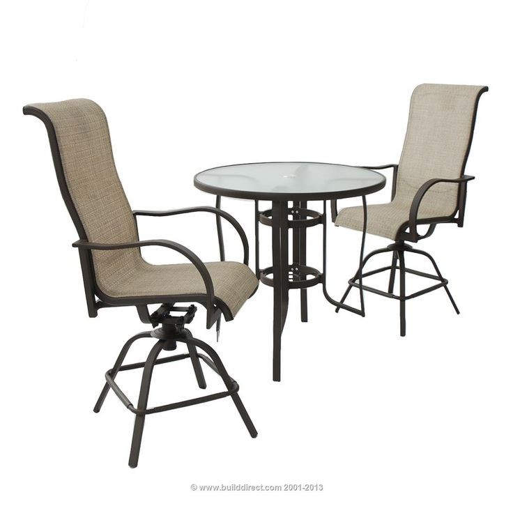 BuildDirect: Patio Furniture Patio Furniture Naples Collection Naples 3  Piece Sling Swivel Balcony Set