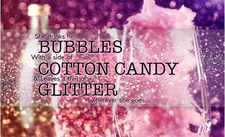 Cute Saying Glittery Cotton Candy Drink Gourmet Cotton