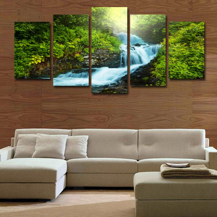 Cheap Paintings On Canvas, Buy Quality Green Forest Directly From China  Landscape Pictures Suppliers: 5 Pieces Modular Green Forest Waterfall  Landscape ... Part 79