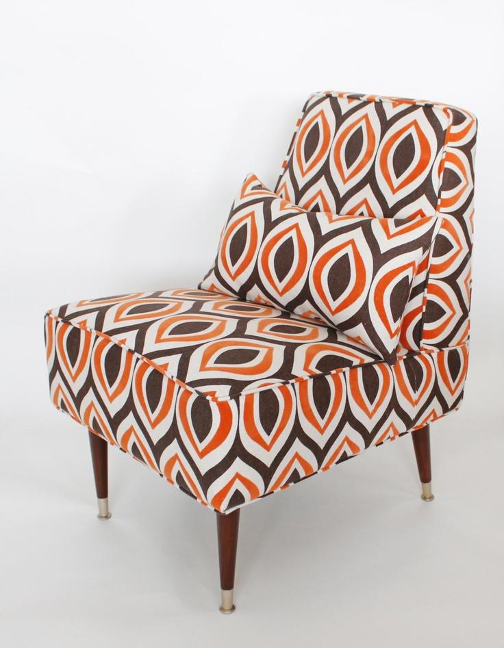 Mid Century Slipper Chair   Orange, Brown, Natural