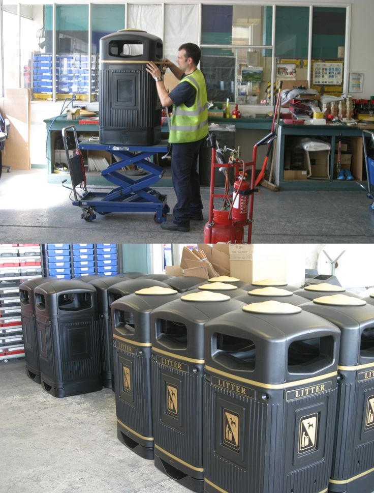 Production of our Glasdon Jubilee™ 110 litter bins which have been personalised to have litter and dog waste graphics.