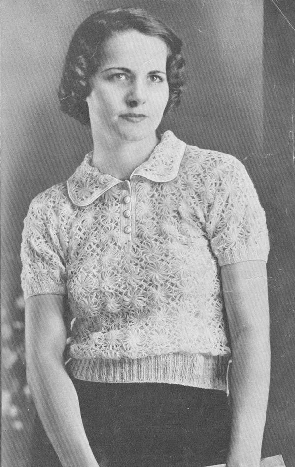 PDF 3205 Vintage 1930s Daisy Knitter Blouse Pattern