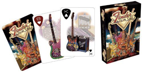 Fender Custom Playing Cards:   Custom Guitar Shop Playing Cards. Fender style in spades-and hearts, clubs and diamonds! From gin rummy to Texas hold 'em, you're the coolest card sharp in town when you deal out Fender Custom Shop Playing Cards. All four smartly dressed suits bear full-color images of fantastic Custom Shop creations and guitar-pick corner indices, all backed with a colorful Custom Shop illustration. The winning hand has never looked so dazzling. Neither has 52 pickup.
