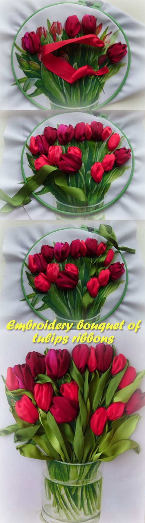Embroidery bouquet of tulips ribbons silk ribbon