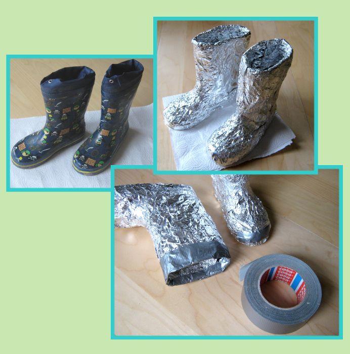 Verkleiden, Kostüm, Karneval und Fasching: DIY Astronaut: Stiefel aus Alufolie und Gummistiefel. Schuhe