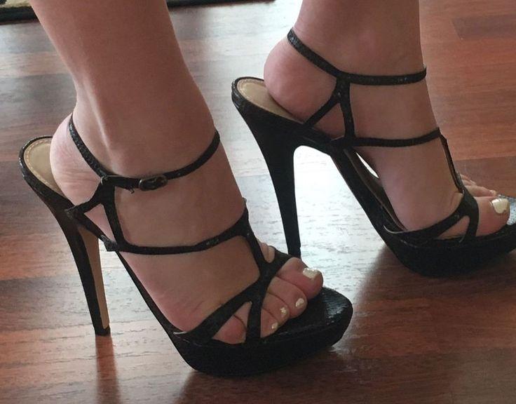 "Colin Stuart 7.5 Stiletto Brown Snake Print VS Strappy Platform 5"" Heels Ankle  #ColinStuart #Strappystiletto #Formalplatformpump #vspumps #victoriasecretsheels"