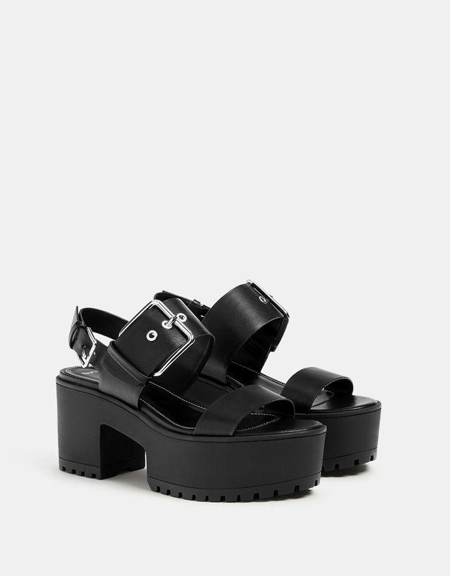 14b0e1ef19ddc Platform sandals with buckle | nice kicks | Sandals, Shoes, Wedge shoes