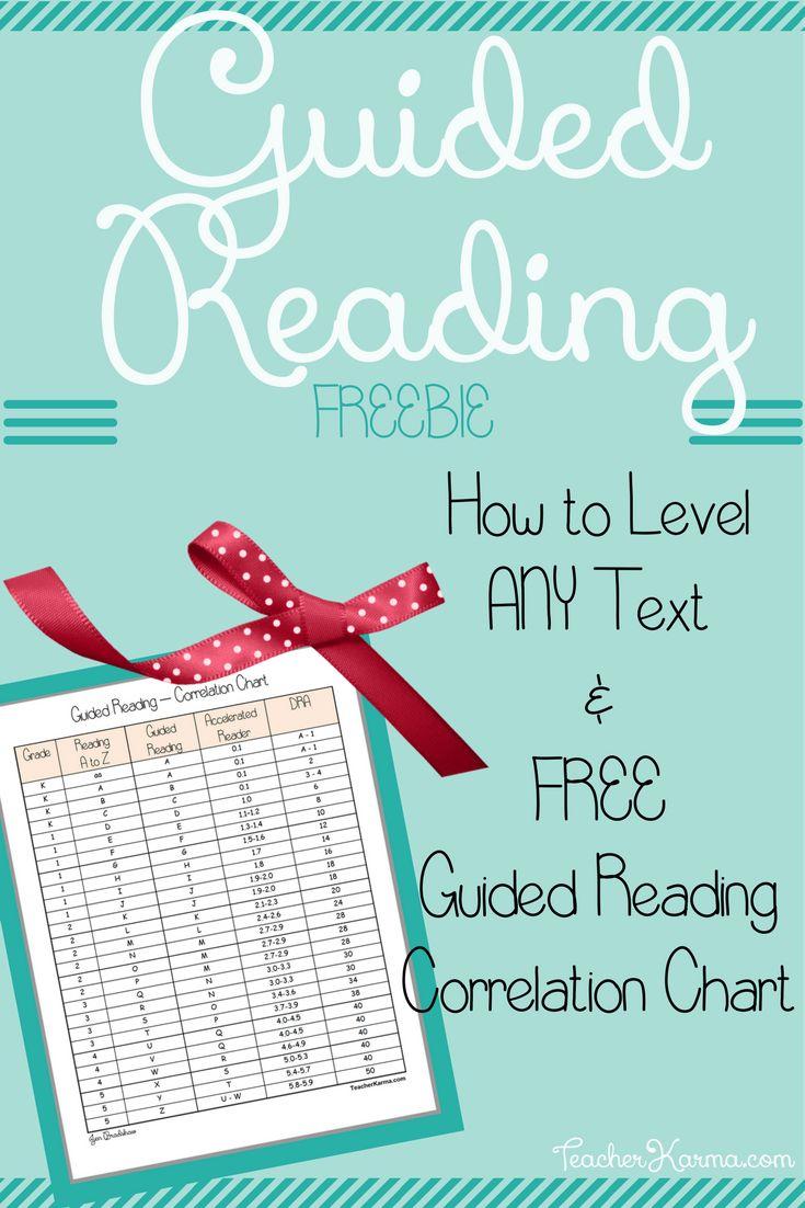 FREE Guided Reading Correlation Chart and How to Level ANY Text! TeacherKarma.com