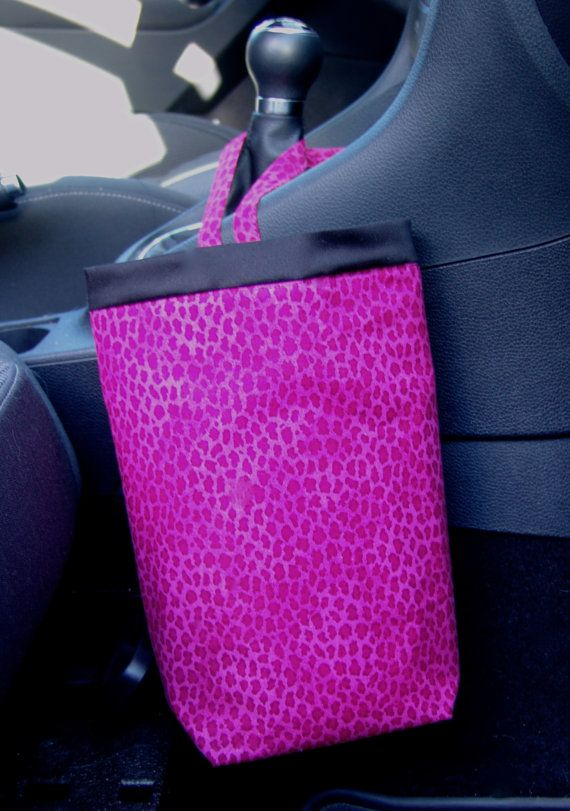 SALE Car Trash Bag LEOPARD PINK, Women, Car Litter Bag, Car Accessories, Car Organizer