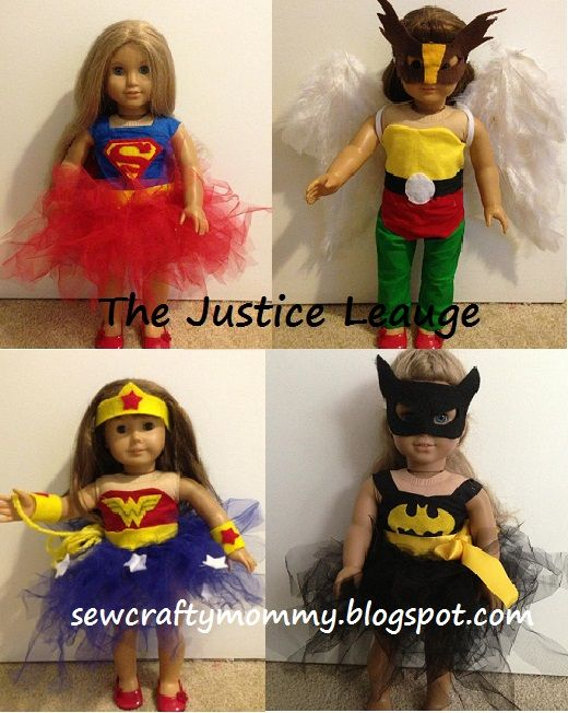 American Girl Doll Justice League Costumes #Wonder Woman # Batman #Superman #Hawkgirl