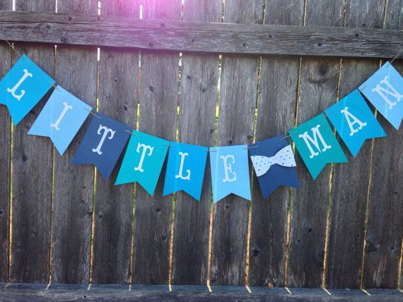 This listing is for a Little man banner in shades of blue. This banner would be perfect your Little Man baby shower or first birthday party.  Each Flag measures 3 inches wide and 5 inches long. This banner is made from heavy card stock and is strung together with hemp cord.  *** current processing time for this shop is 3 to 5 days plus shipping ****  Thanks for stopping by Tincakes
