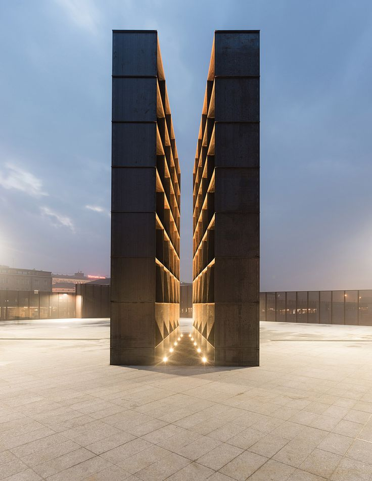 "The space at the heart of this rusting steel memorial narrows to a width of just 80 centimetres, designed to make visitors empathise with the ""feeling of oppression"" experienced by Holocaust victims"